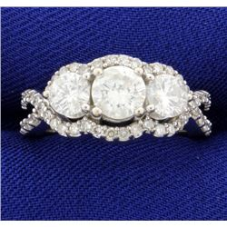 3 Stone Halo Diamond Ring 2 ct TW