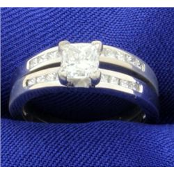 1ct TW Wedding Ring Set-Engagement Ring & Wedding Band