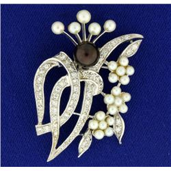 Vintage Pearl and Diamond Pin or Brooch
