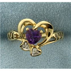 Love You Amethyst and Diamond Ring