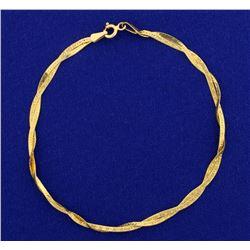 Italian Made Woven Designed Gold Bracelet