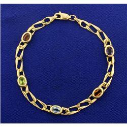 Multi Colored Gemstone Bracelet in 14k Gold