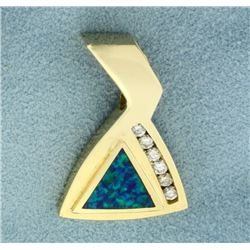 Natural Black Opal and Diamond Pendant or Slide