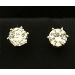 .9ct TW Diamond Stud Earrings in 14k White Gold Settings