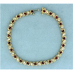 3ct TW Ruby and Diamond Tennis Bracelet