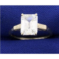 2.5ct Emerald Cut CZ Gemstone Ring in 14k Gold