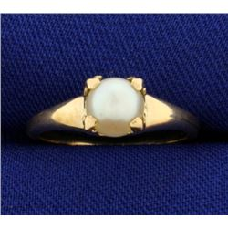 6mm Akoya Pearl Solitaire Gold Ring
