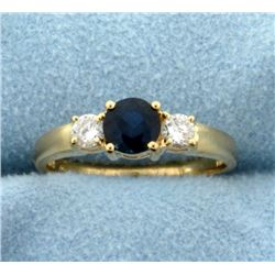 3/4ct TW Natural Sapphire and Diamond Ring