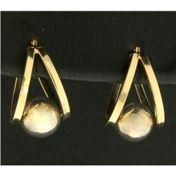 Half Hoop Designer Earrings with Suspended Sphere in 14k Gold