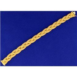 18k Gold Designer Woven Link Bracelet