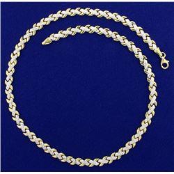 Unique Diamond Cut 16 Inch Necklace in 14k Gold