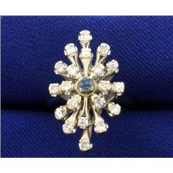 Diamond and Alexandrite Ring in 14k White Gold