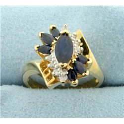 Sapphire and Diamond Ring in 14k Gold