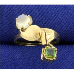 Custom Made Moonstone and Peridot Ring in 10K Yellow Gold