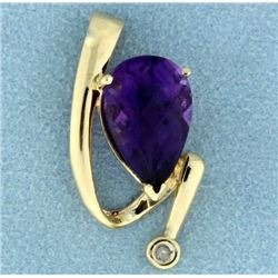 Amethyst and Diamond Pendant or Slide in 14K Yellow Gold