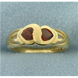 Two Hearts Garnet Gold Ring