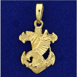 American Eagle on Anchor Pendant in 14K Yellow Gold