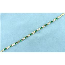 Over 2.75ct Emerald and Diamond Gold Bracelet