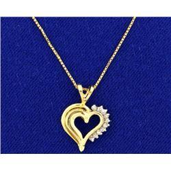 Diamond Heart Pendant on 14k Gold Chain
