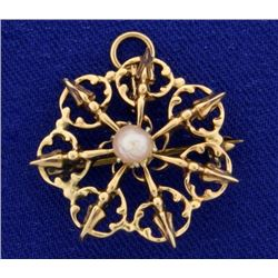 Vintage Pearl Pendant or Pin in 14k Rose Gold