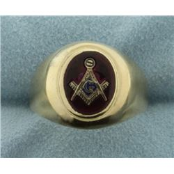 Lab Ruby Gold Masonic Ring