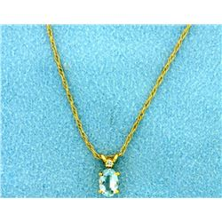 Aquamarine and Diamond Pendant on 14k Gold Chain