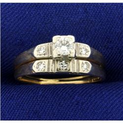Vintage Diamond Wedding Ring Set in 14K Yellow and White Gold