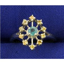 Color Changing Alexandrite and Fancy Yellow Diamond Ring in 14K White Gold