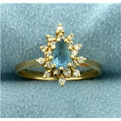 Aquamarine and Diamond Ring in 14K Yellow Gold