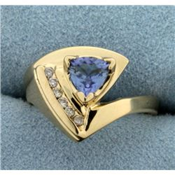 Tanzanite and Diamond Ring in 14K Yellow Gold