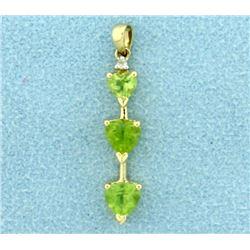 Heart Peridot and Diamond Pendant in 14K Yellow Gold