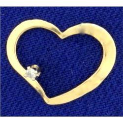 Lightweight Heart Diamond Slide in 14K Yellow Gold