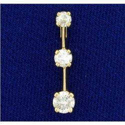1/2ct TW 3 Diamond Journey Pendant in 14K Yellow Gold