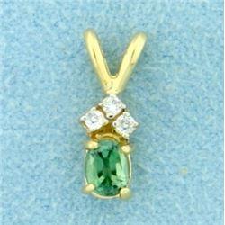 3 Diamond and Peridot Pendant in 14K Yellow Gold