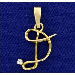 "Initial ""D"" Pendant in 14K Yellow Gold"
