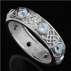Aquamarine Vintage Style Eternity Band Ring in Sterling Silver