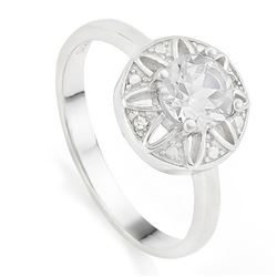 Large White Topaz Vintage Style Ring with Diamond set in Sterling Silver