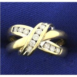 1/3 ct TW Criss Cross Diamond Ring in 10K Yellow and White Gold
