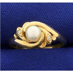 Akoya Pearl and Diamond Ring in 14K Yellow Gold