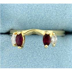 Ruby and Diamond Ring Jacket in 14K Yellow Gold