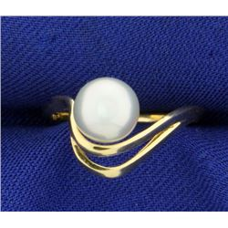 Unique Pearl Ring in 14K Yellow Gold