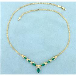 Tsavorite Green Garnet and Diamond Necklace in 14K Gold