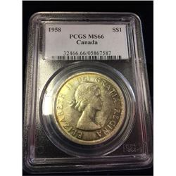 1958 Canada Dollar PGCS MS66!! - Very Rare at this grade