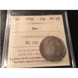 1936 Canada 25 Cents *BAR* ICCS VF20