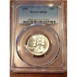 1959 US 25Cent PCGS MS66