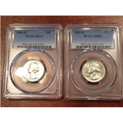 (2) US 25Cent PCGS 1963-D MS63, 1960-D MS64
