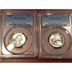 (2) US 25Cent PCGS 1963 MS64 - 1962 MS65