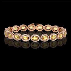 12.73 CTW Fancy Citrine & Diamond Halo Bracelet 10K Rose Gold - REF-226A9X - 40494