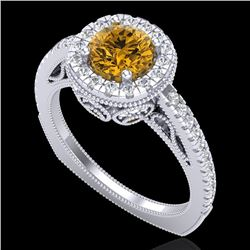 1.55 CTW Intense Fancy Yellow Diamond Engagement Art Deco Ring 18K White Gold - REF-200T2M - 37987
