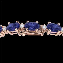 15 CTW Tanzanite & VS/SI Diamond Eternity Bracelet 10K Rose Gold - REF-119A3X - 21461